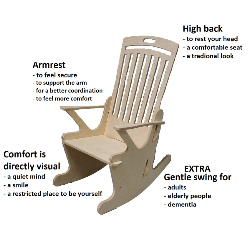 Rocking chair for young and old. Beautiful maternity chair with an ideal seat height and seat width. The chair size is universally suitable for young adults as well as for the elderly. The stability of the chair is the basis of the design and ensures the unique experience.