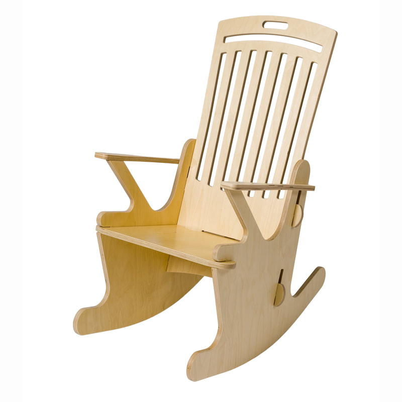 Stoeli Schommeli ST.44.R wooden rocking chair with authentic look. Well suited for nursery or living room. Steady rocking motion for ultimate relaxation.  Baby relaxes because of the rocking motion. Model ST.44.R is also well suited for elderly and people with memory troubles or dementia.