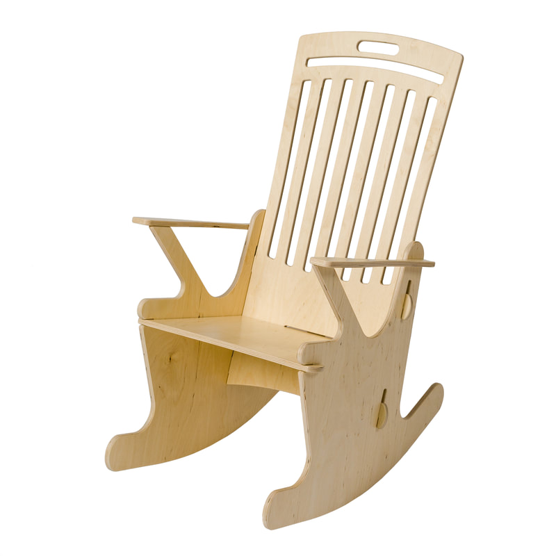 Stoeli Schommeli ST.6.R model classic retro wooden rocking chair with slow rocking movement for pure relaxation. With high back rest.